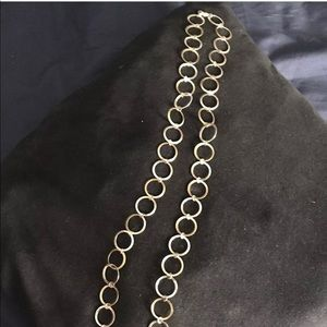 Gold tone and silver tone circle link necklace